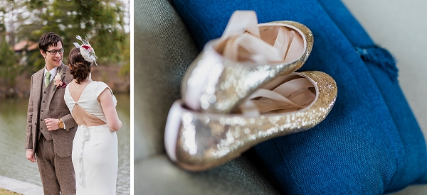Sparkly gold ballet flats for bride