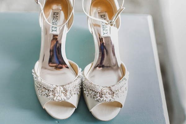 Beaded ivory peep toe bridal heels