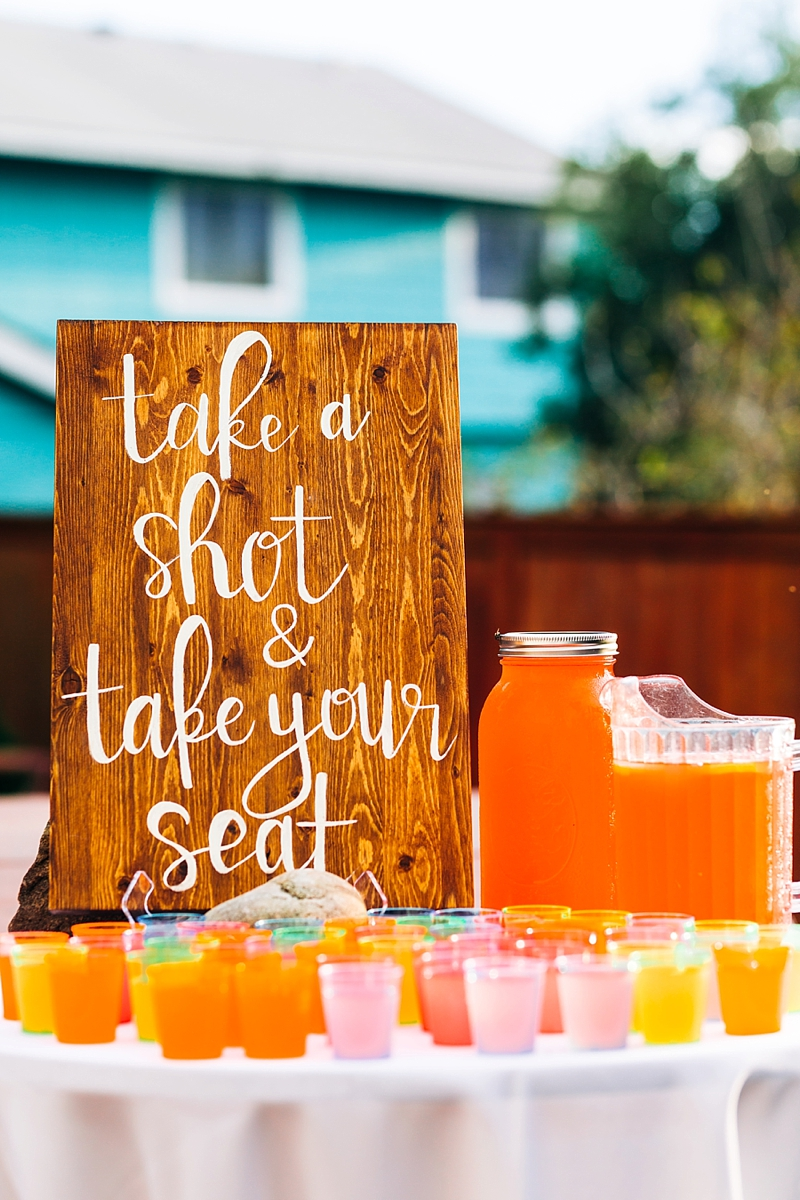 Fun Take a shot and take your seat wooden wedding sign with colorful fruity drinks