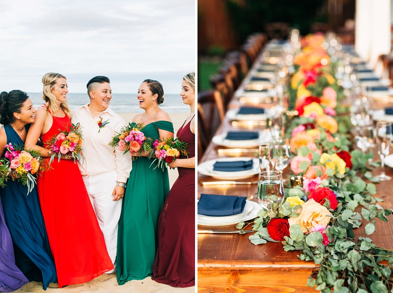 Vibrant rainbow wedding on the beach with gorgeous flowers and bridesmaid dresses