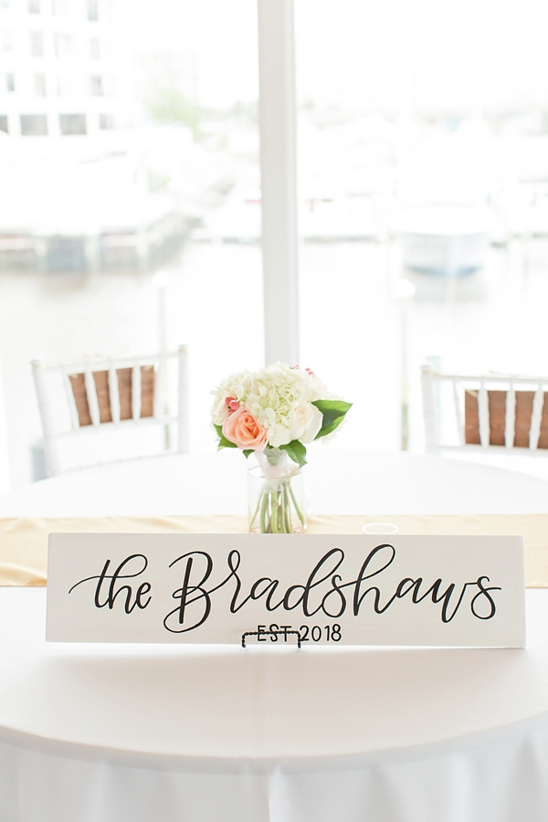 Calligraphy sign for sweetheart table with bride and groom last name