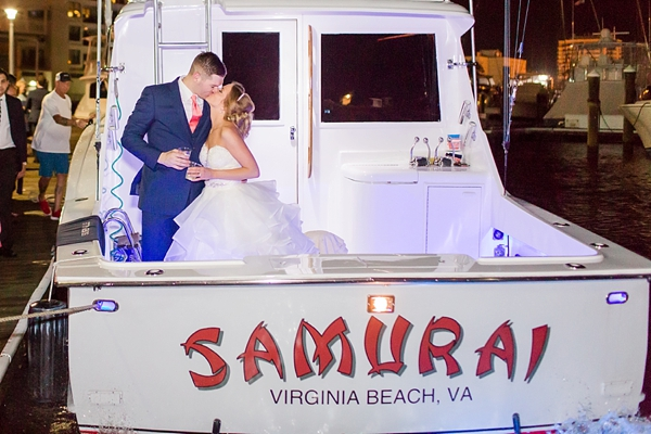 Fun wedding departure on a boat in Virginia Beach