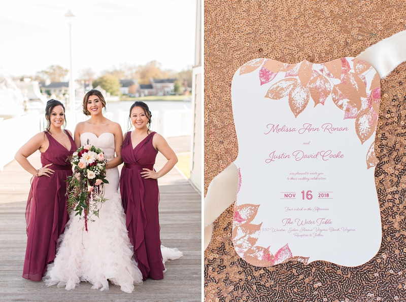 Wine colored bridesmaid dresses and rose gold sequins for classic wedding
