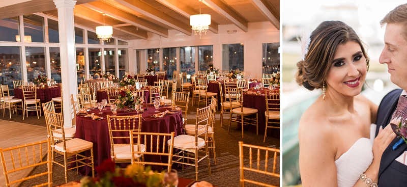 Gold and burgundy red evening wedding reception setup at The Water Table in Virginia Beach Virginia