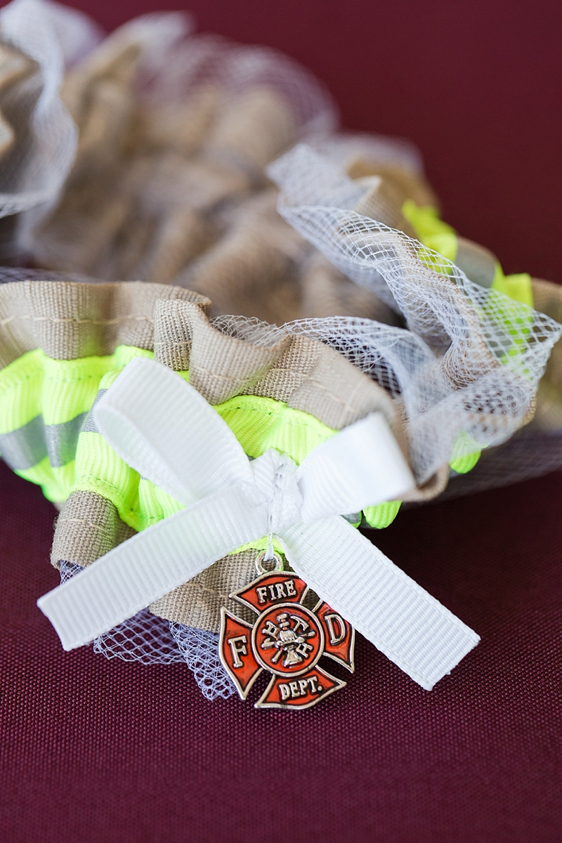 Cute firefighter inspired wedding garter