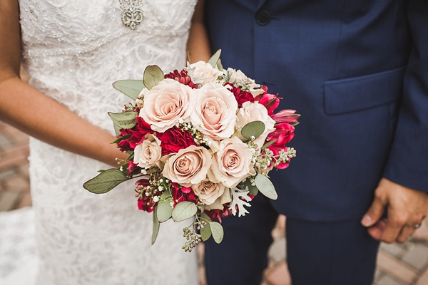 Classic pink and red bridal rose wedding bouquet