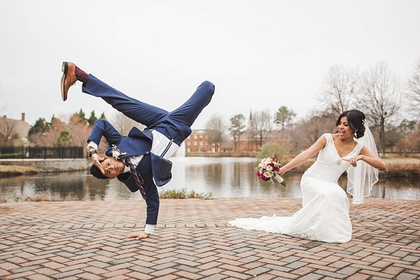 Bride and groom breakdancing