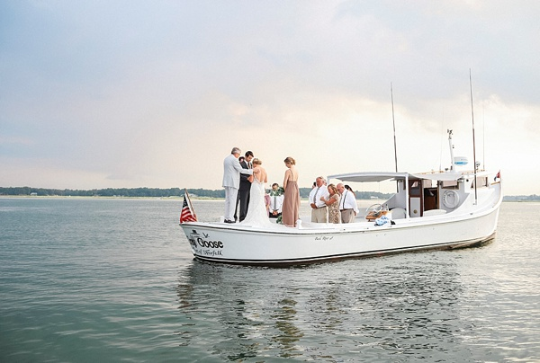 Romantic wedding ceremony on a boat