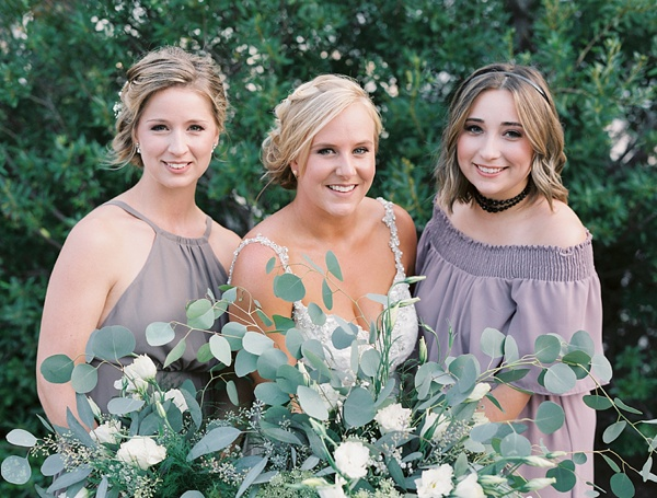 Bridesmaids in lavender dresses