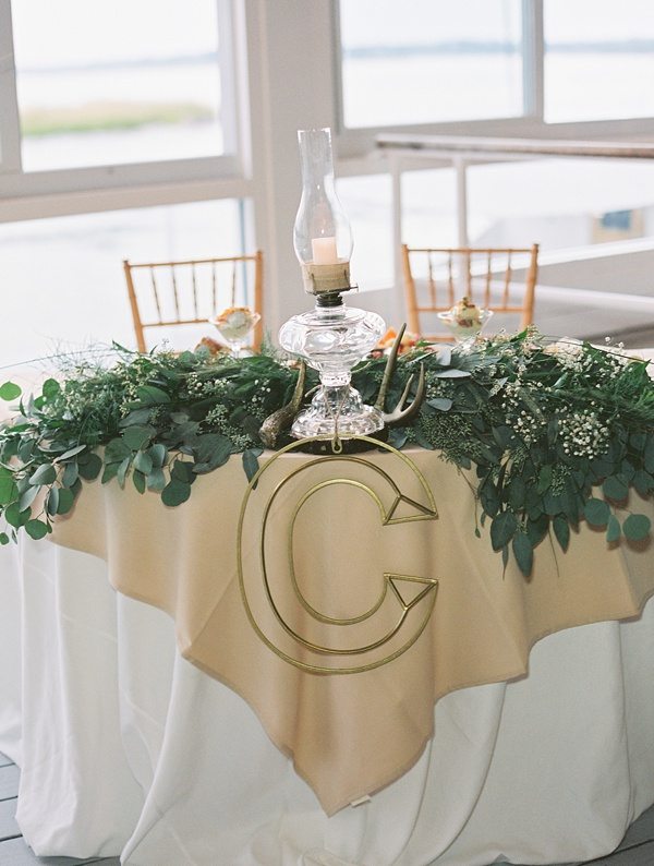 Rustic sweetheart table with eucalyptus and faux deer antlers