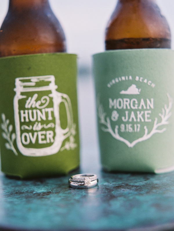 The Hunt Is Over inspired green wedding drink koozies