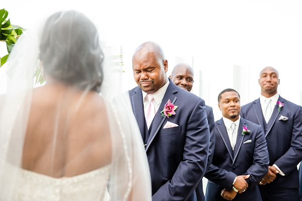 Emotional groom during wedding ceremony