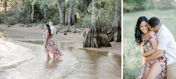 Cuddly engagement session at Jamestown Beach in Williamsburg Virginia