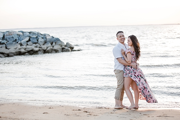 Romantic beach engagement photos in Williamsburg Virginia