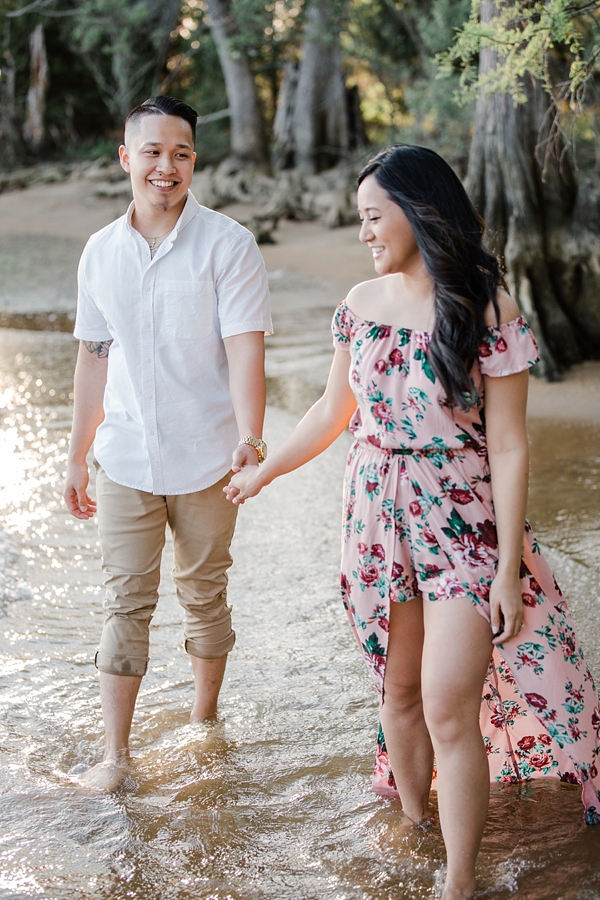 Gorgeous pink floral jumpsuit shorts with maxi skirt overlay for beach engagement session