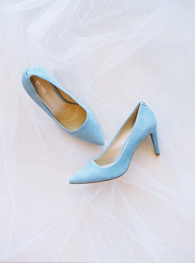Light blue suede bridal shoes for classic Something Blue wedding