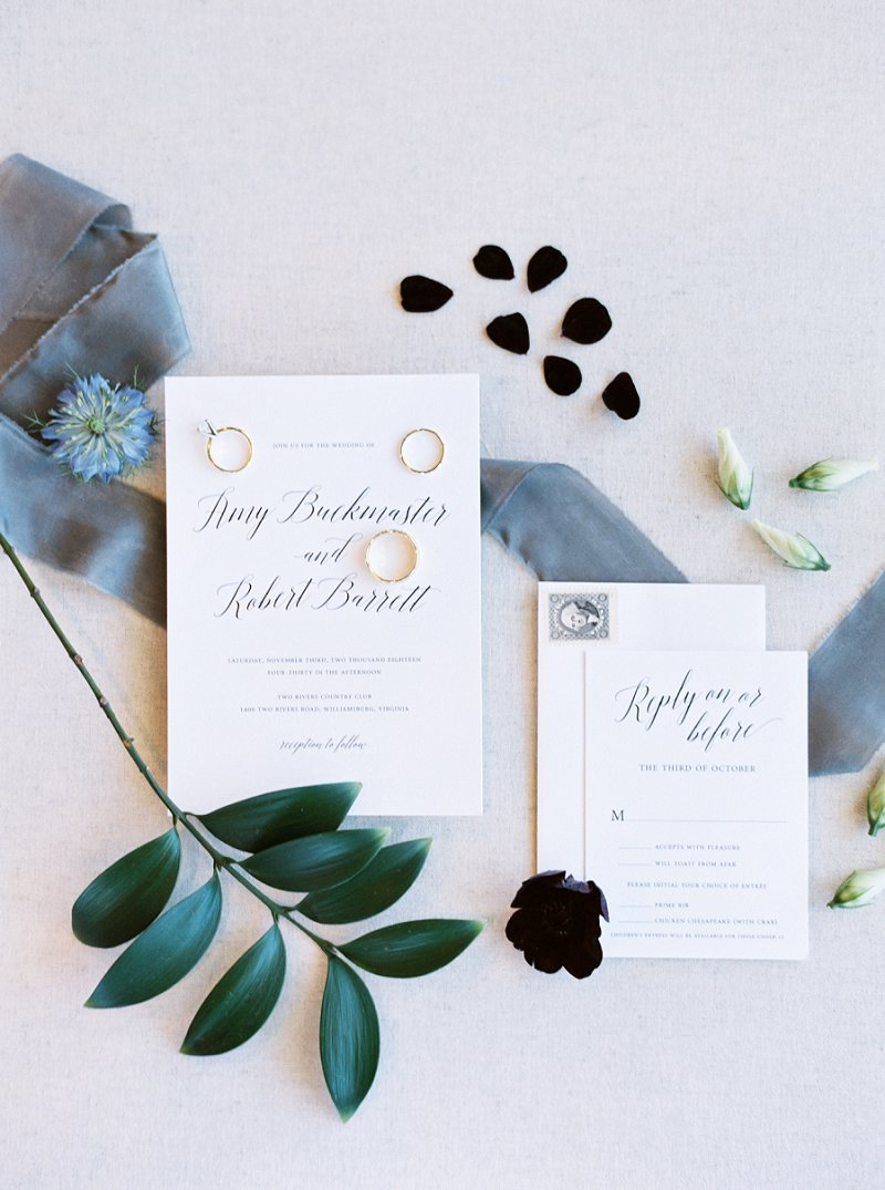 Simply elegant black and white wedding invitations with modern calligraphy