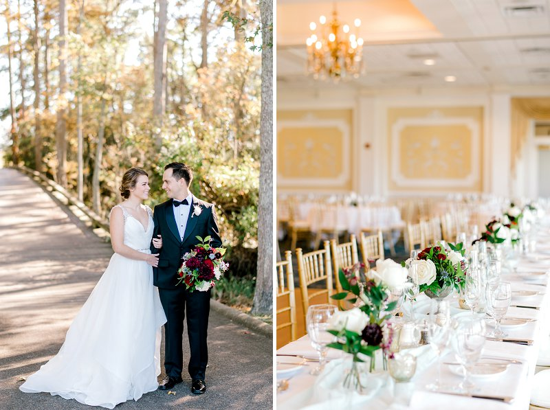 Elegant ballroom wedding reception with long tables and small centerpieces