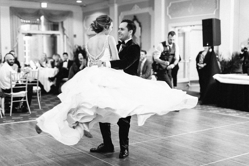 Beautiful moment during a bride and groom first dance at Two Rivers Country Club in Williamsburg Virginia