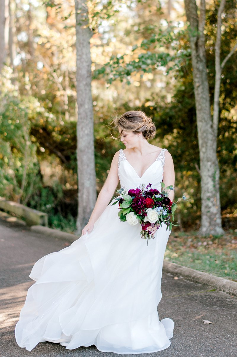 Gorgeous bride wearing a Hayley Paige wedding dress with beaded straps and flowy skirt