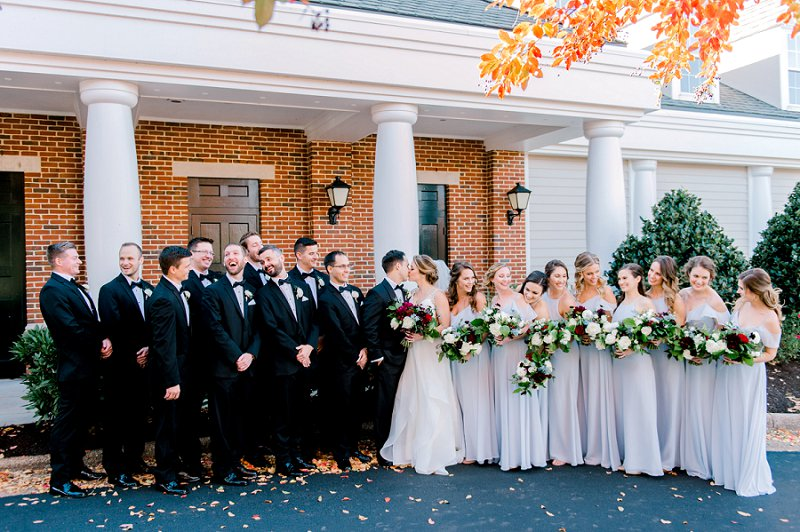 Elegant wedding party at Two Rivers Country Club in Williamsburg Virginia