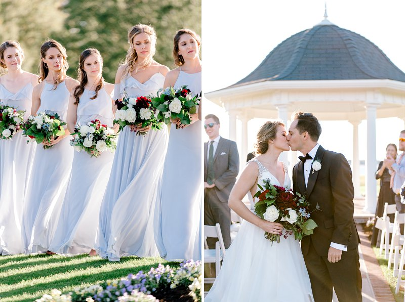 Powder blue bridesmaid dresses with perfectly moody wedding bouquets
