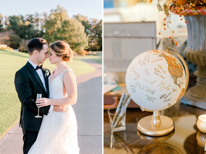 Unique handmade gold world globe wedding guestbook for guests to write on
