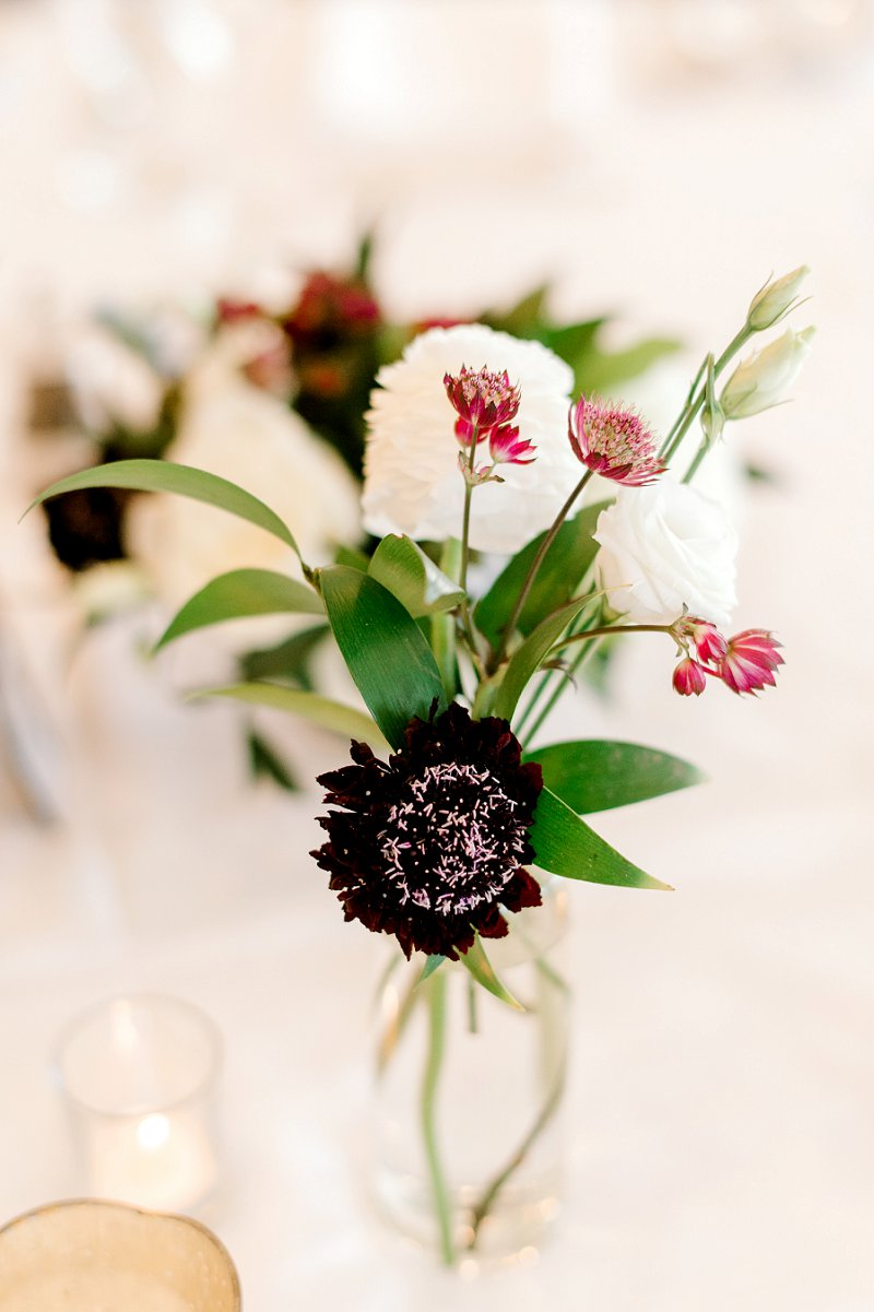 Burgundy flowers for small bud vase wedding centerpieces