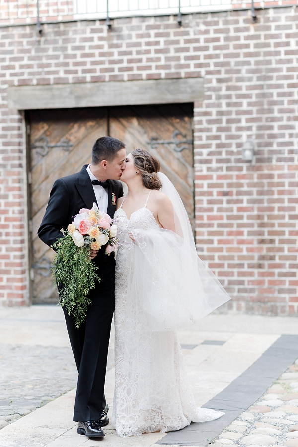 Military bride and groom at Williamsburg Winery