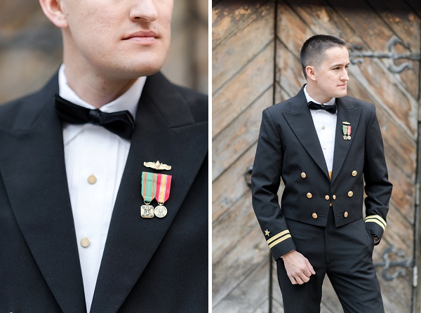 Military groom in his Naval dress uniform