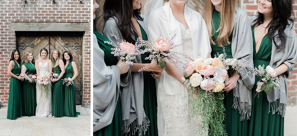 Emerald green bridesmaid dresses with gray shawls for winter wedding