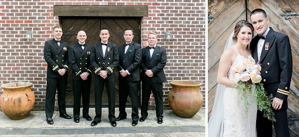 Groomsmen and groom in both suits and military uniforms