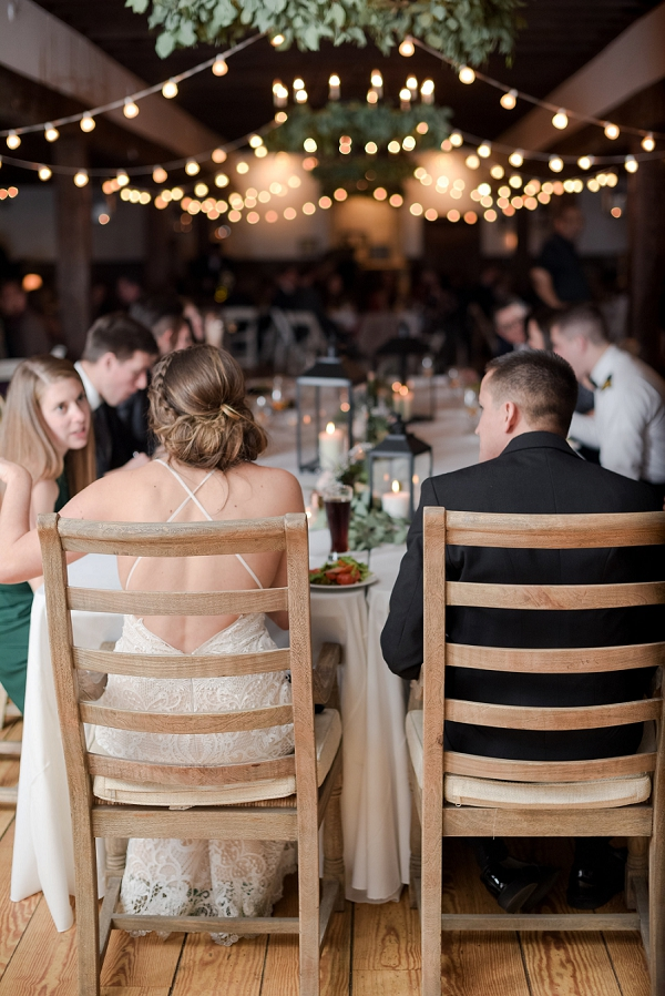 Farm tables for elegant and rustic winter wedding at Williamsburg Winery in Coastal Virginia