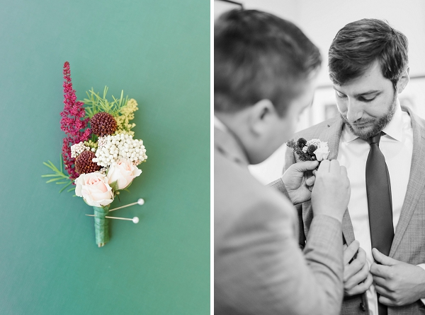 Fall wedding boutonniere with spray roses