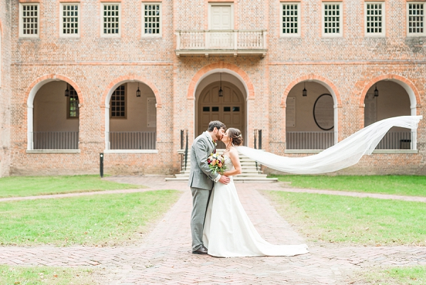 Bride and groom at College of William and Mary