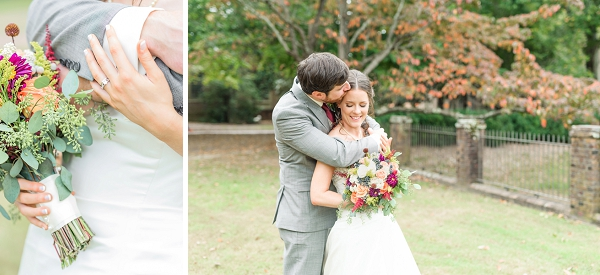 Sweet moments with fall bride and groom