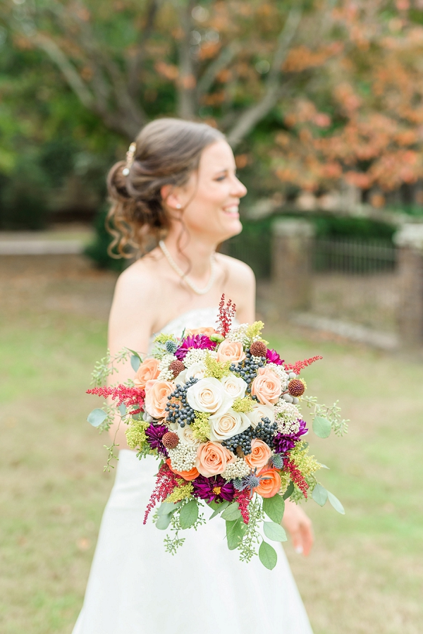 Vibrant and textured fall bridal bouquet