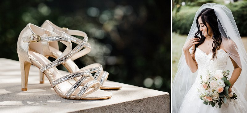 Glimmering gold wedding shoes for classic bride