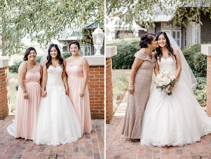 Pink and gold dresses for bridesmaids and mother of the bride