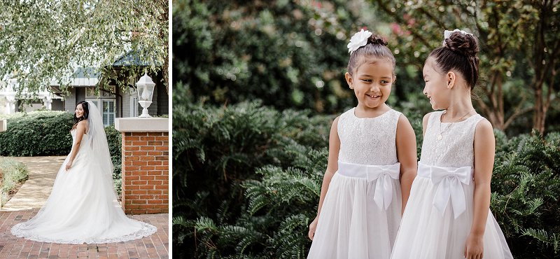 Most adorable flower girls in white dresses with bows
