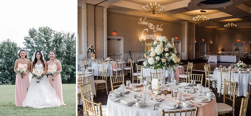 Blush pink and gold ballroom wedding ideas with handmade details