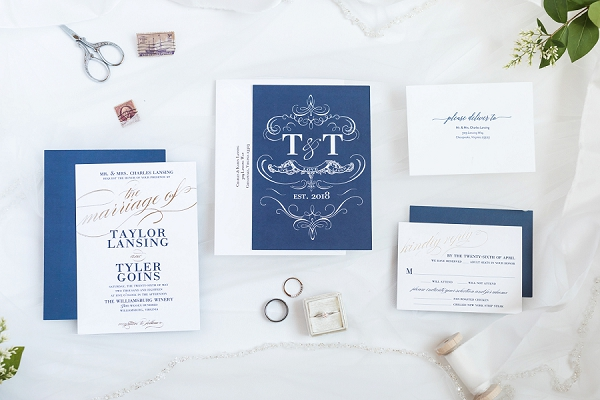 Classic blue and white wedding invitation
