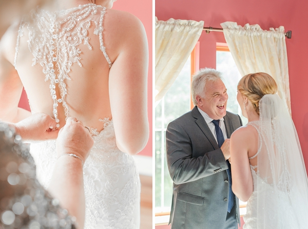 Happy father of the bride moment in Williamsburg Virginia wedding