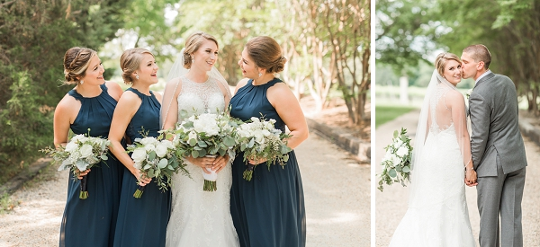 Navy blue bridesmaid dresses for winery wedding
