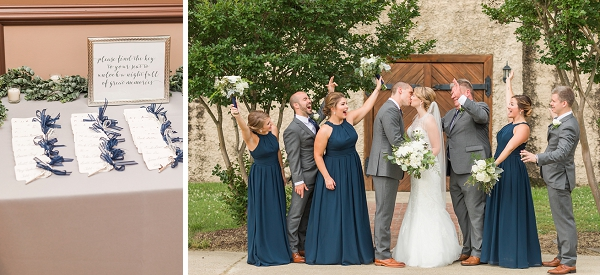 Navy blue and white wedding party attire for classic Williamsburg Winery