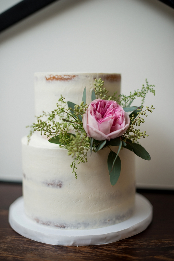 Small semi naked cake with garden rose