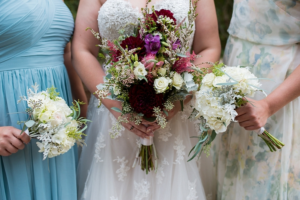 Burgundy and white bridal bouquet