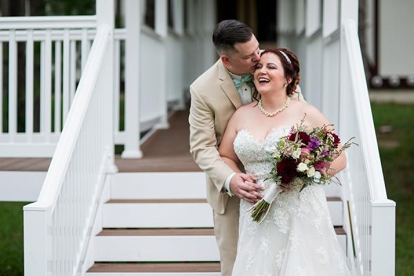 Adorable bride and groom at Williamsburg Winery Virginia
