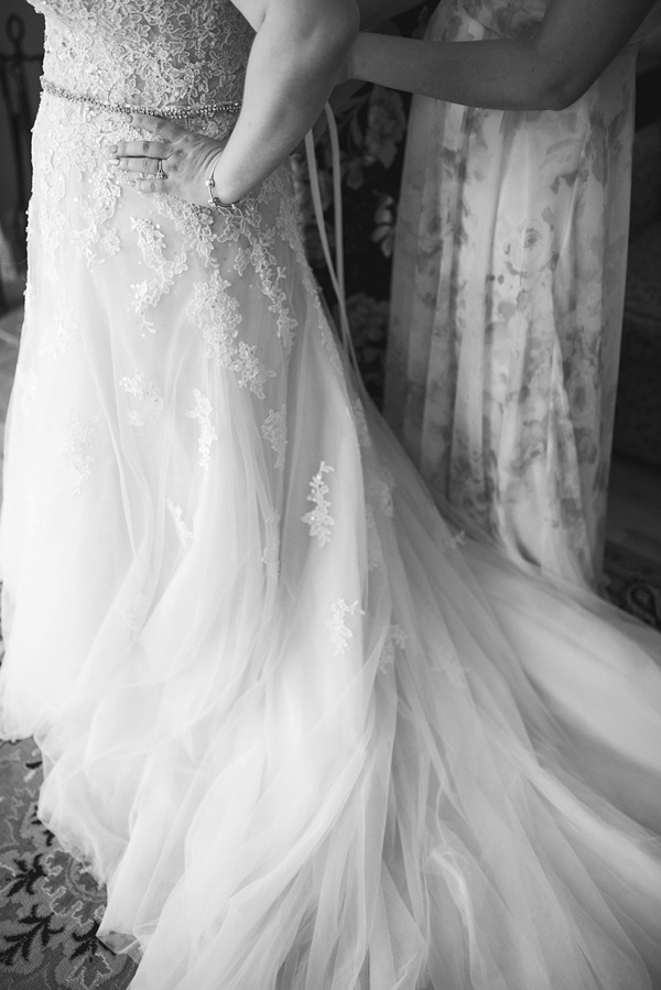 Black and white wedding gown detail
