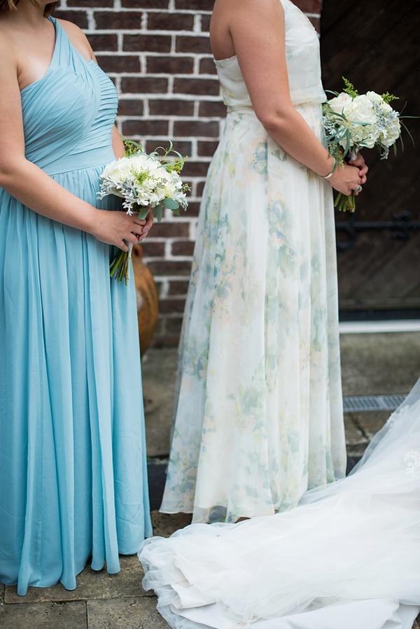 Patterned blue bridesmaid dress